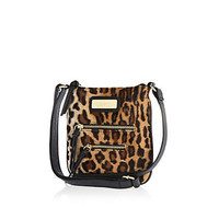 Girls brown leopard mini messenger bag - bags - girls