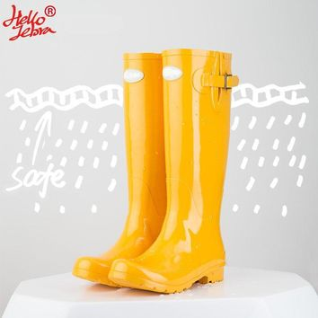 Hellozebra Women Rain Boots England Light knee High Rain Boots Women Candy Color Water