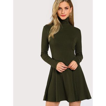 Solid Long Sleeve Flowy Dress