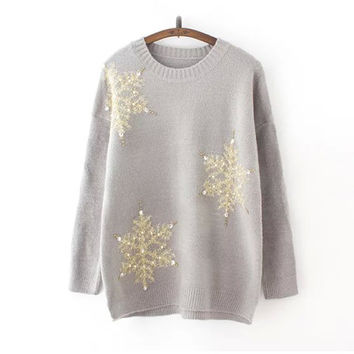 Gray Snowflake Sequin Long Sleeve Sweater