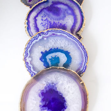 PURPLE agate coasters. geode coasters. gem coasters. gold or silver. 4 coaster set. home decor. housewarming gift.