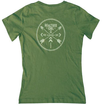 Realtree Girl Two Tribes Green Short Sleeve Shirt