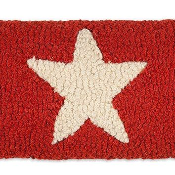 "Red Stars Lumbar Hooked Wool Pillow 8"" X 24"""