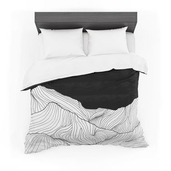 """Viviana Gonzalez """"Lines In The Mountains"""" Black White Mixed Media Featherweight Duvet Cover"""