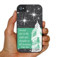 "iPhone 4/4s BruteBoxTM- Peter Pan - Movie Quote - ""Second star to..."" - 2 Part Rubber and Plastic Protective Case"