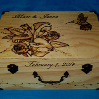 Decorative Wood Wedding Keepsake Box Wood Burned Wedding Memory Box Rustic Wedding Card Box Hummingbird Personalized Wood Scripture Box