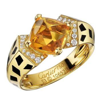"Cartier Citrine Diamond ""Panthère"" Ring"