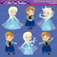 Snow Princess Clipart(P004),Cute Snow Princess clip art for Personal and Commercial /Card Design/Scrapbooking/Web Design/INSTANT DOWNLOAD