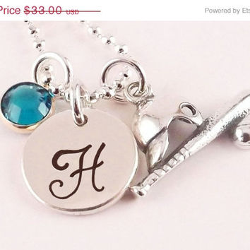 Winter Sale Personalized Silver Plated Baseball Softball Initial Charm Necklace with Sterling Silver Baseball Softball Charm and Crystal Bir