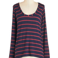ModCloth Nautical Mid-length Long Sleeve Everything's Possible Top
