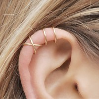 Fashion 2Pcs/Set Cartilage Punk Ear Cuff Clip-On Earrings Non-Piercing Cross 3 Color Wrap Clip Earrings
