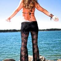 sexy black lace boho beach yoga resort festival burning man gypsy hippie bell bottom pants with shorts liner (optional)