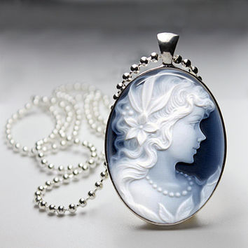 Cameo Oval Glass pendant Necklace. Handmade 18x25mm Oval Jewelry