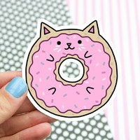 Doughnut Cat Vinyl Sticker