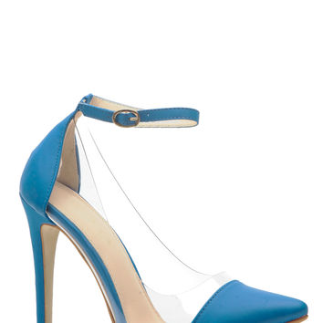 Blue Faux Nubuck Pointed Toe Ankle Strap Vinyl Heels