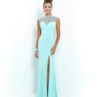Aquamarine Blue Jeweled High Neck Open Back Jersey Dress