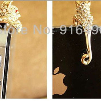 Lovely Bling Leopard style cell phone charm for most cell phone 3.5 jack  IPhone s
