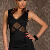 Seductive Party Mini Dress with Tulle Insert Black