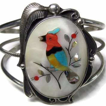 Vintage Navajo Cuff Bracelet Micro Inlay Bird Clayton Tom 6.5 Inches
