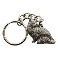 Sitting Longhaired Cat Keychain ~ Antiqued Pewter ~ Keychain