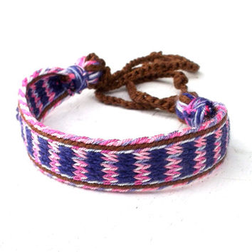 Woven tribal bracelet, hand weave colorful friendship bracelet, handmade boho jewelry, weaving pink blue wrist band, small ethnic bracelet