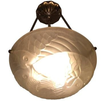 French Art Deco Chandelier with Fish Motif