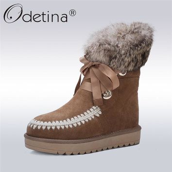 Odetina Fashion Genuine Sheepskin Leather Women Snow Boots Shearling Platform Ankle Boots Lace Up Fur Lined Winter Warm Shoes