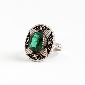Vintage Mexican Sterling Silver Simulated Emerald Ring - Retro Size 8 Dark Green Glass Stone Statement Shield DF 925 AAM Mexico Jewelry
