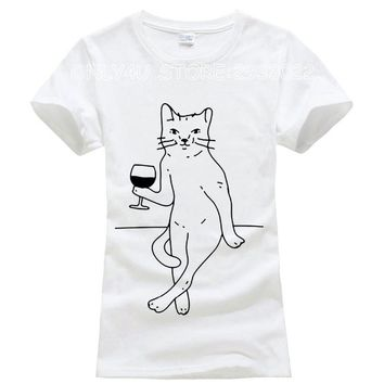 Cat Drinking Wine - Women's Drinking T-shirt