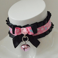Kitten play collar - Little mistress - ddlg princess cute bdsm proof choker with bell -  black and pastel pink