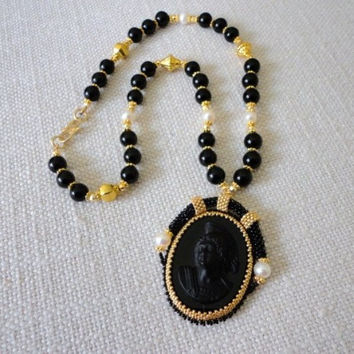 beadwork statement necklace  black stone cameo pendant with pearls  gold bead necklace  seed bead jewelry  gemstone fine jewelry  black onix