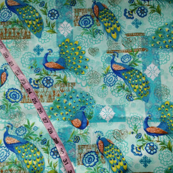 Floral fabric with Peacocks feathers flowers birds quilt cotton print quilters sewing material to sew BTY by the yard, fabric with birds