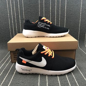 OFF White x Nike ROSHE Run Two 2 511882-002 Black White  Sport Running Shoes - Best Online Sale