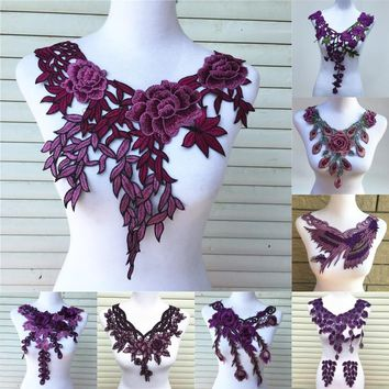 1pc Purple Series Lace Neckline Collar Flower and Heart Venise Lace Applique Trim, Lace Fabric Sewing Supplies Scrapbooking