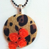 Animal Garden Fabric Button Necklace from Kute As a Button Shop