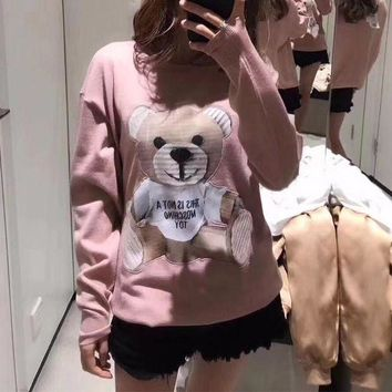 DCCKVQ8 Moschino' Women Casual Cute Bear Pattern Long Sleeve Knitwear Tops