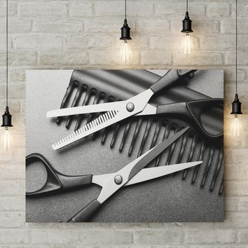 Hair Salon Decor Canvas Wall Art, Barber Shop Decor, Hair Salon Framed Canvas Wall Art
