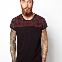ASOS T-Shirt With Check Panel Yoke And Roll Sleeves