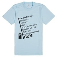 Catchphrases by The Doctor-Unisex Light Blue T-Shirt