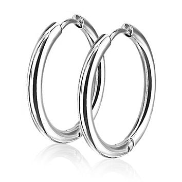 Seamless Hoop - Women's Stainless Steel Hinge Hoop Earrings