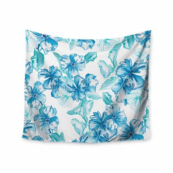 """Danii Pollehn """"Icy Flowers"""" Blue White Illustration Wall Tapestry"""