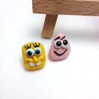 Spongebob and Patrick Stud Earrings, Clip Earrings, Cartoon Miniatures, Cartoon Earrings, Polymer Clay Jewelry, Bob Sponge, Girls Gift