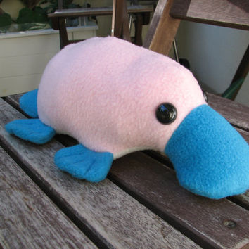 Little Platypus Plushie - Pink and Blue Stuffed Animal Toy