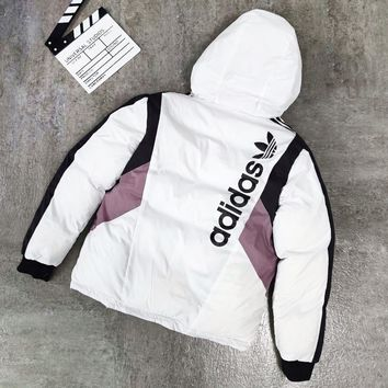 Adidas Autumn And Winter Fashion New Letter Leaf Print Cotton Clothing Two Surface Wear On Both Long Sleeve Coat Jacket