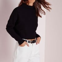 Missguided - Ribbed High Neck Sweater Black