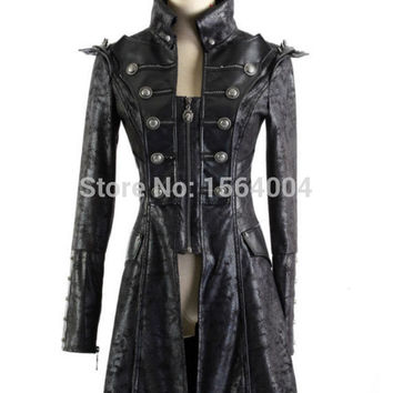 Punk Rave military Uniform Streampunk Visual Kei Gothic Womens winter Clothes Jacket Coat  Y366