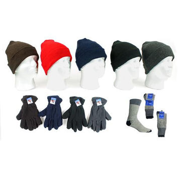 Adult Beanie Knit Hats, Men's Fleece Gloves, and T
