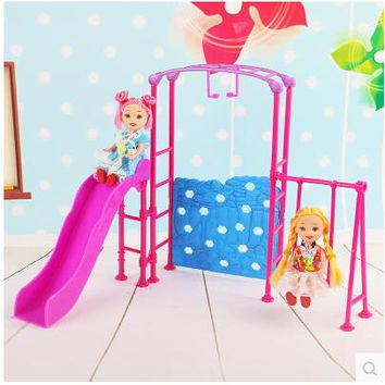 Doll Amusement Park Slide Swing Accessories for Barbie Doll Girl Play House