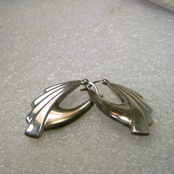 Vintage Sterling Silver Pierced Earrings Art Deco/Geometric/Southwestern Design, Hinged Post,  1.25""