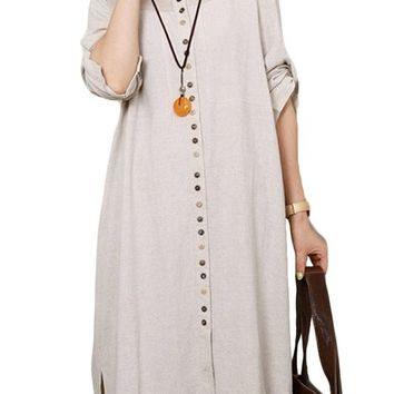 Mordenmiss Women's Spring/Summer Pull Up Sleeve Shirt Dress